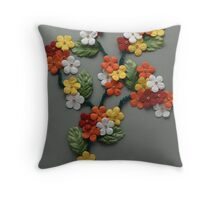 Papercraft colorful flowers Throw Pillow
