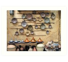 Pottery display in a Persian market Art Print