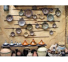 Pottery display in a Persian market Photographic Print