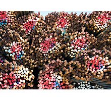 Rainbow-colored bundles of steel rebar Photographic Print