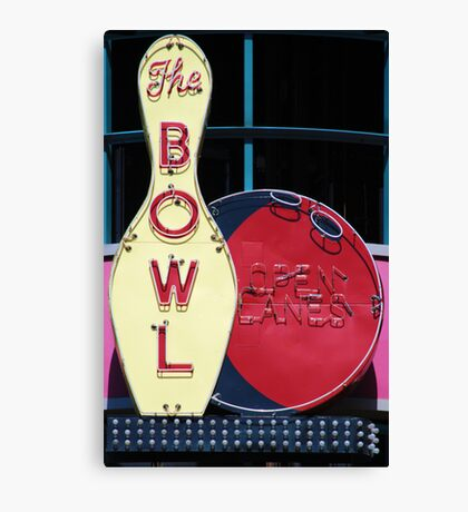 Vintage neon sign for a bowling alley Canvas Print