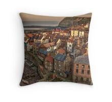 Staithes at Dusk Throw Pillow