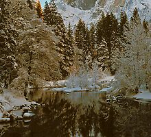 HALFDOME AND REFLECTION IN MERCED RIVER by Chuck Wickham