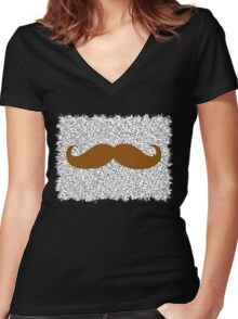 Funny Mustache on leopard skin Women's Fitted V-Neck T-Shirt
