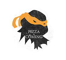 Pizza is Coming - Sticker/Cases/Pillow/Print on White by JohnLucke