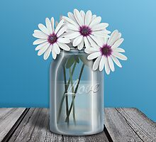 White and Purple Daisy Mason Jar Blue by Starzraven
