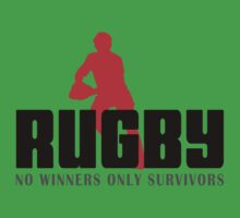 """Rugby """"No Winners Only Suvivors"""" Baby Tee"""