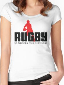 "Rugby ""No Winners Only Suvivors"" Women's Fitted Scoop T-Shirt"