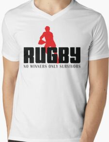 """Rugby """"No Winners Only Suvivors"""" Mens V-Neck T-Shirt"""
