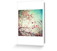 Pink autumn leafs on blue textured background Greeting Card