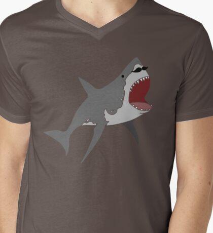 stache shark Mens V-Neck T-Shirt