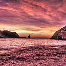 Ibiza beach at sunset by maratshdey