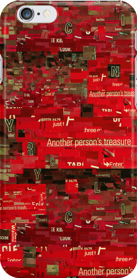 Red Paper Collage by Shawna Rowe