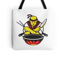 japanese cook chef with knife wok Tote Bag