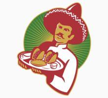 mexican chef serving taco burrito empanada retro T-Shirt