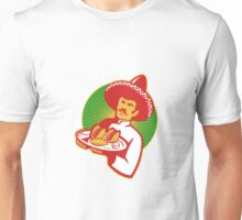 mexican chef serving taco burrito empanada retro Unisex T-Shirt
