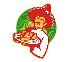 mexican chef serving taco burrito empanada retro by retrovectors