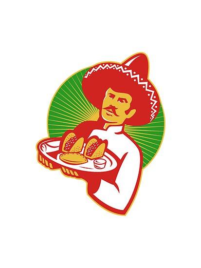 mexican chef serving taco burrito empanada retro by retrovectors