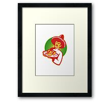 mexican chef serving taco burrito empanada retro Framed Print