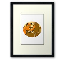 gas and oil worker closing pipeline pipe valve Framed Print