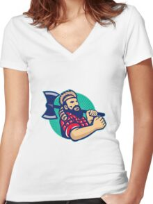 Lumberjack Logger With Axe Retro Women's Fitted V-Neck T-Shirt