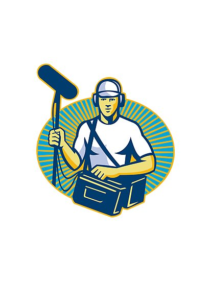 soundman worker with microphone retro by retrovectors