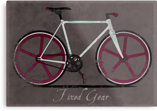 Fixed Gear White Bicycle by Andy Scullion