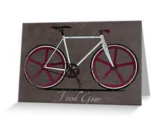 Fixed Gear White Bicycle Greeting Card