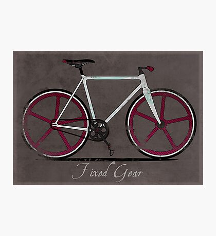 Fixed Gear White Bicycle Photographic Print