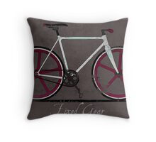 Fixed Gear White Bicycle Throw Pillow