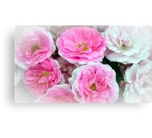 A Bunch of Pink and White Roses Canvas Print
