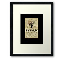 spell night Halloween tree moon Framed Print