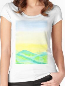 Hand-Painted Green Hills Blue Yellow Sky Watercolor Landscape Women's Fitted Scoop T-Shirt