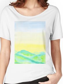 Hand-Painted Green Hills Blue Yellow Sky Watercolor Landscape Women's Relaxed Fit T-Shirt