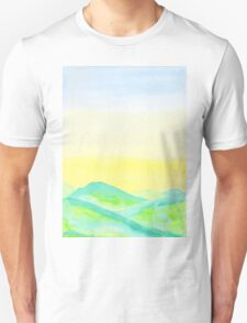 Hand-Painted Green Hills Blue Yellow Sky Watercolor Landscape T-Shirt