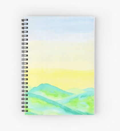 Hand-Painted Green Hills Blue Yellow Sky Watercolor Landscape Spiral Notebook