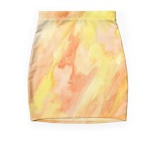 Orange Yellow Abstract Marble Hand-Painted Watercolor Painting Mini Skirt