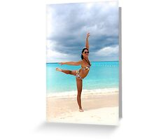flexible woman on the beach  Greeting Card