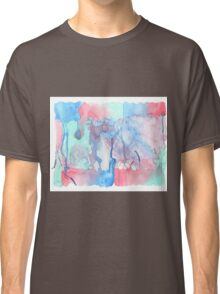 Hand-Painted Abstract Watercolor Green Red Blue Painting Classic T-Shirt