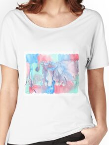 Hand-Painted Abstract Watercolor Green Red Blue Painting Women's Relaxed Fit T-Shirt