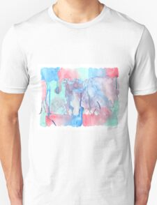 Hand-Painted Abstract Watercolor Green Red Blue Painting Unisex T-Shirt
