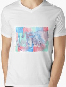 Hand-Painted Abstract Watercolor Green Red Blue Painting Mens V-Neck T-Shirt