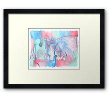 Hand-Painted Abstract Watercolor Green Red Blue Painting Framed Print