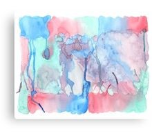 Hand-Painted Abstract Watercolor Green Red Blue Painting Canvas Print