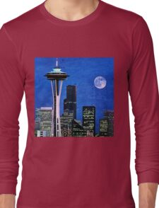 Blue Seattle Space Needle Long Sleeve T-Shirt