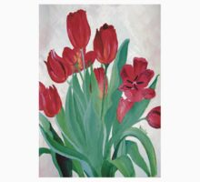 A Bouquet of Red Tulips  One Piece - Short Sleeve