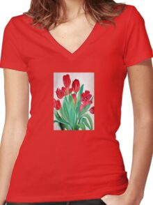A Bouquet of Red Tulips  Women's Fitted V-Neck T-Shirt