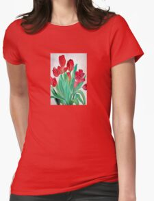 A Bouquet of Red Tulips  Womens Fitted T-Shirt