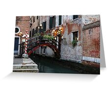 Venice, Italy - the Cheerful Christmassy Restaurant Entrance Bridge Greeting Card