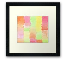 Hand-Painted Abstract Watercolor Green Orange Red Yellow Framed Print